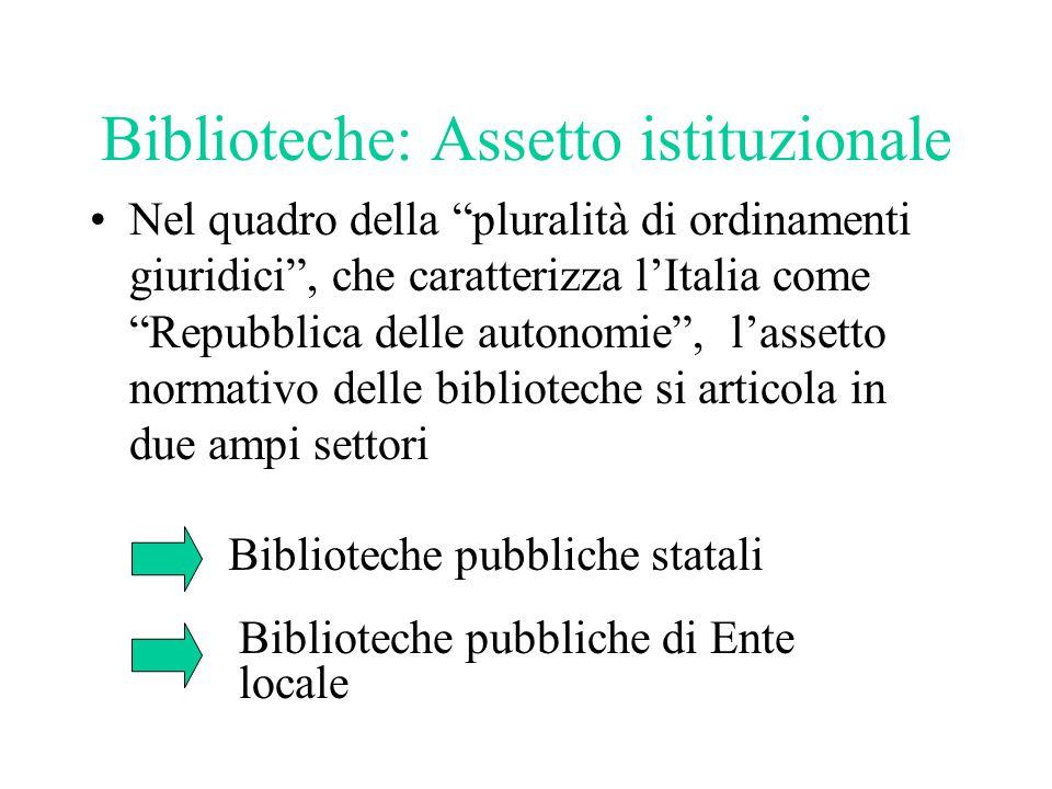 """Biblioteche: Assetto istituzionale Nel quadro della """"pluralità di ordinamenti giuridici"""", che caratterizza l'Italia come """"Repubblica delle autonomie"""","""