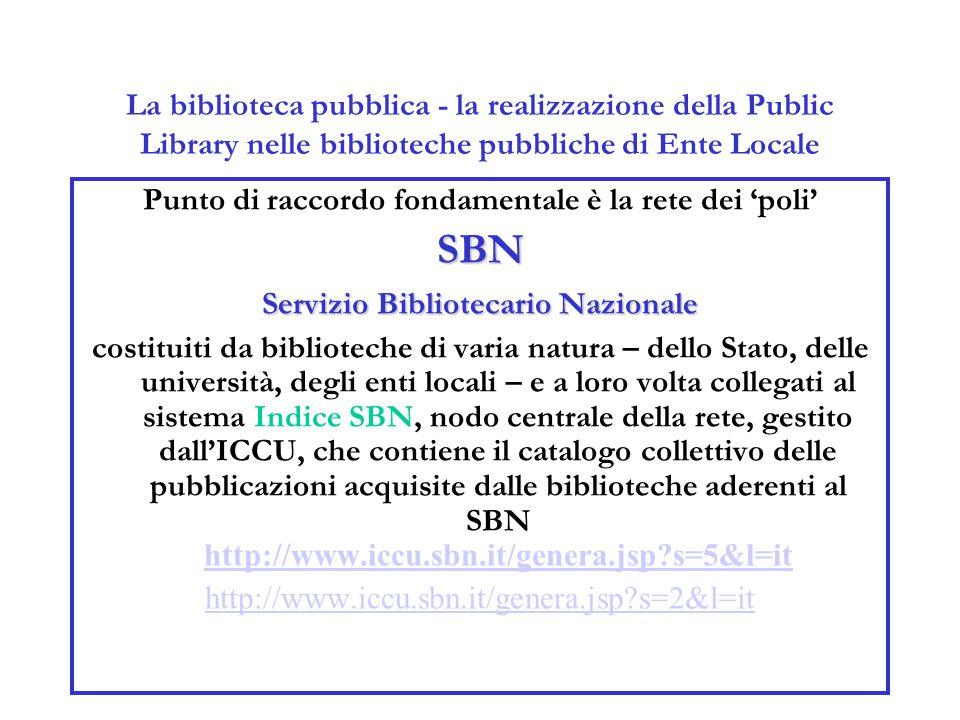 La biblioteca pubblica - la realizzazione della Public Library nelle biblioteche pubbliche di Ente Locale Punto di raccordo fondamentale è la rete dei