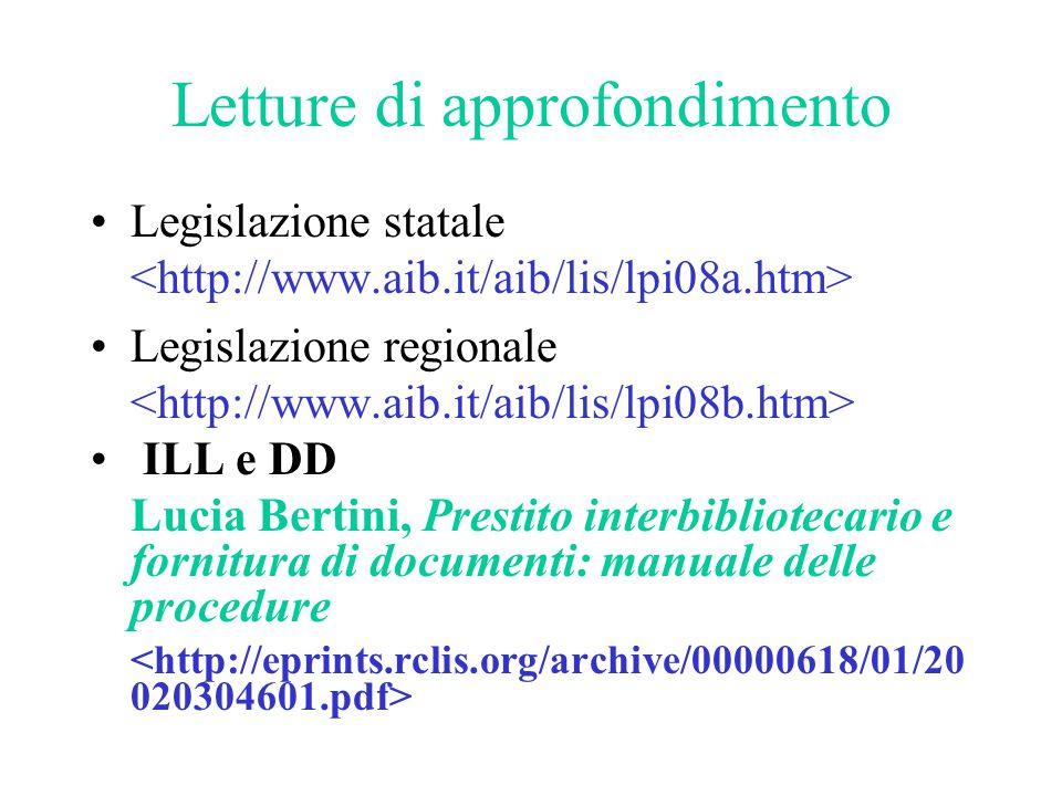 Letture di approfondimento Legislazione statale Legislazione regionale ILL e DD Lucia Bertini, Prestito interbibliotecario e fornitura di documenti: m