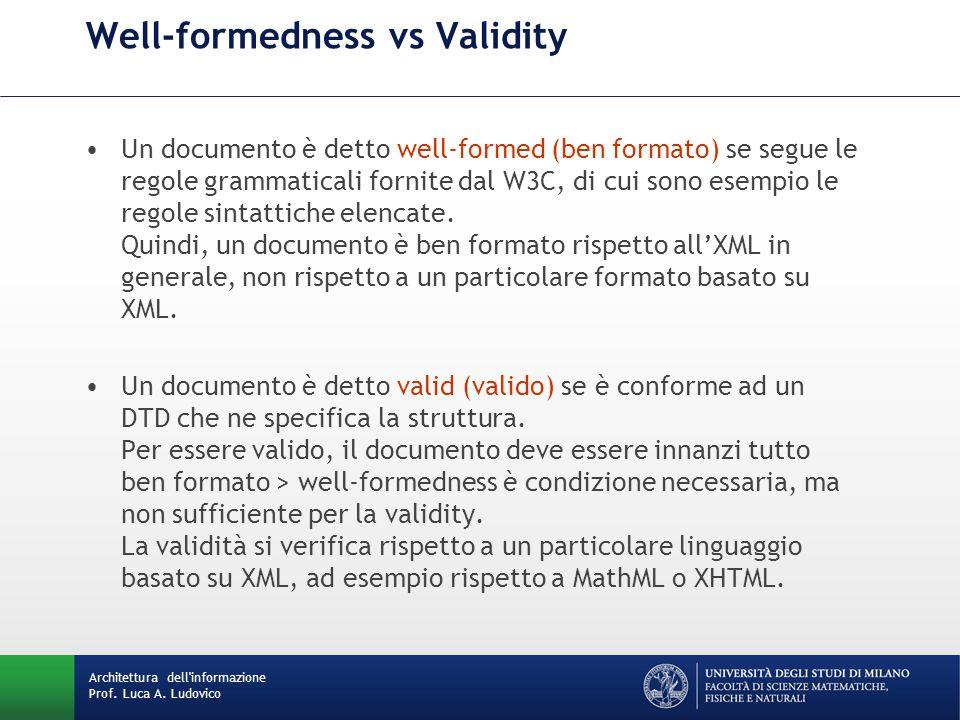 Un documento è detto well-formed (ben formato) se segue le regole grammaticali fornite dal W3C, di cui sono esempio le regole sintattiche elencate.