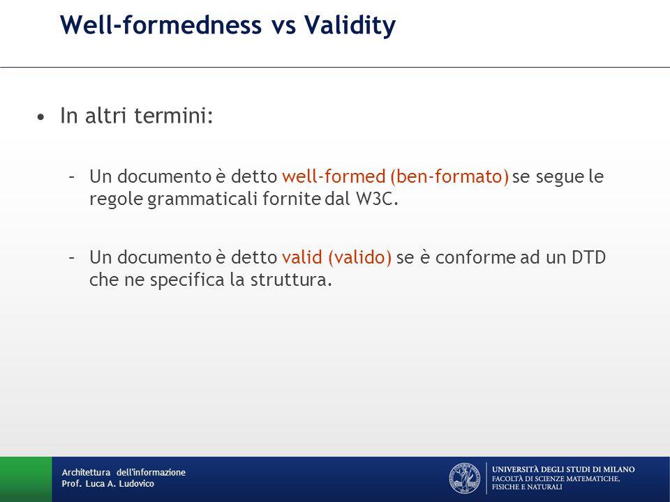 In altri termini: –Un documento è detto well-formed (ben-formato) se segue le regole grammaticali fornite dal W3C.