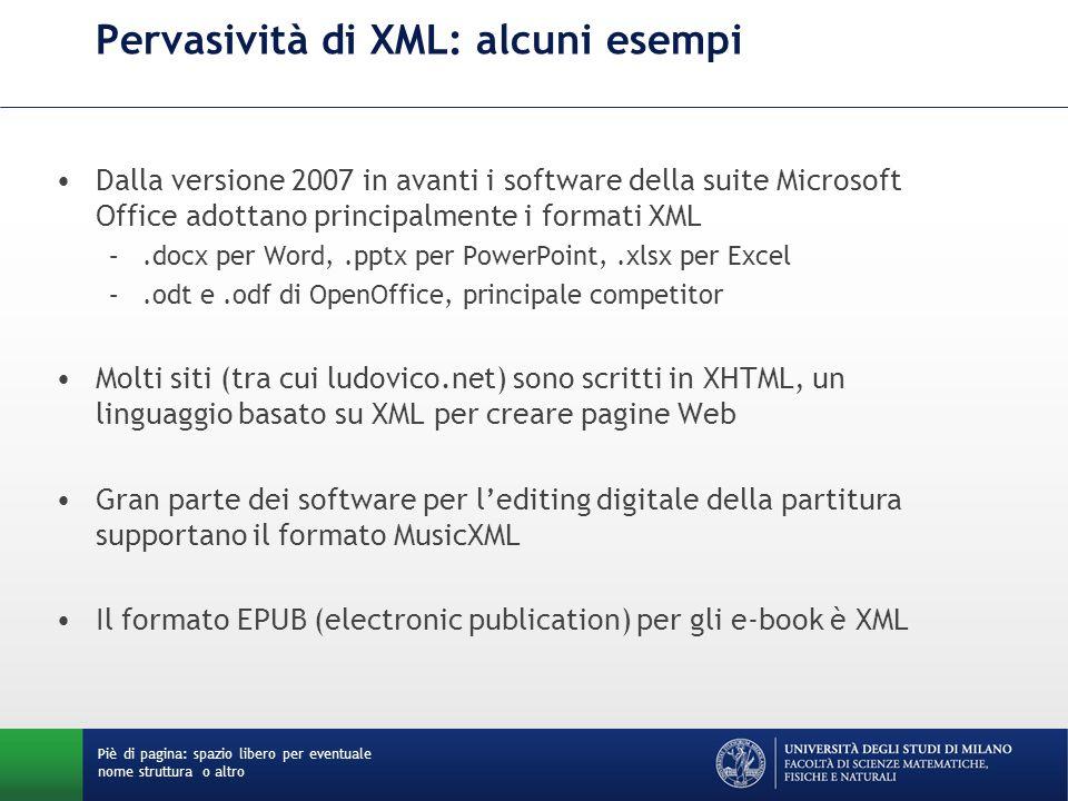 Pervasività di XML: alcuni esempi Dalla versione 2007 in avanti i software della suite Microsoft Office adottano principalmente i formati XML –.docx per Word,.pptx per PowerPoint,.xlsx per Excel –.odt e.odf di OpenOffice, principale competitor Molti siti (tra cui ludovico.net) sono scritti in XHTML, un linguaggio basato su XML per creare pagine Web Gran parte dei software per l'editing digitale della partitura supportano il formato MusicXML Il formato EPUB (electronic publication) per gli e-book è XML Piè di pagina: spazio libero per eventuale nome struttura o altro