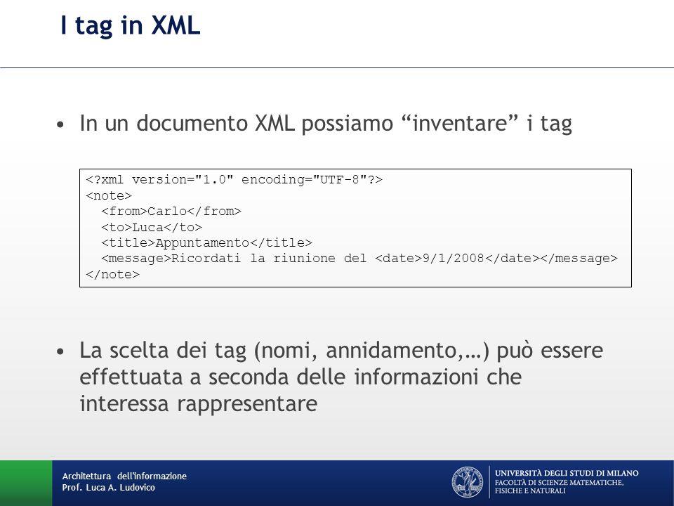 Lettura intuitiva dell'XML La prima linea del documento (opzionale) identifica lo stesso come un XML ed indica anche la versione Il primo tag identifica la radice del documento.