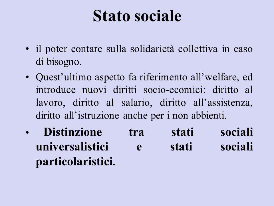 Stato sociale il poter contare sulla solidarietà collettiva in caso di bisogno. Quest'ultimo aspetto fa riferimento all'welfare, ed introduce nuovi di