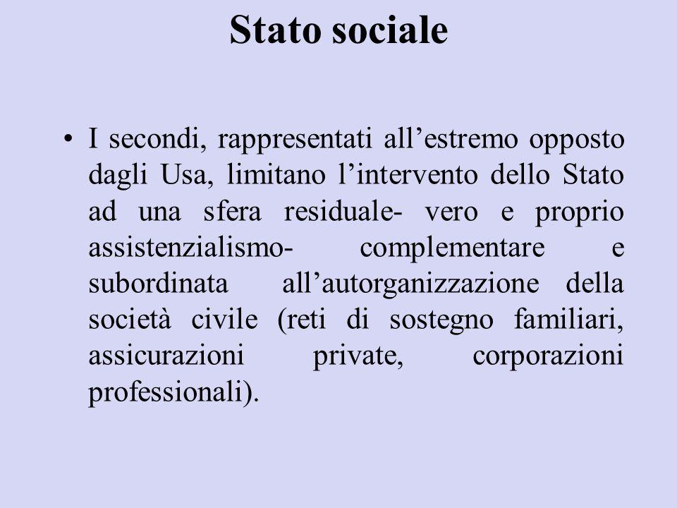 Stato sociale I secondi, rappresentati all'estremo opposto dagli Usa, limitano l'intervento dello Stato ad una sfera residuale- vero e proprio assiste