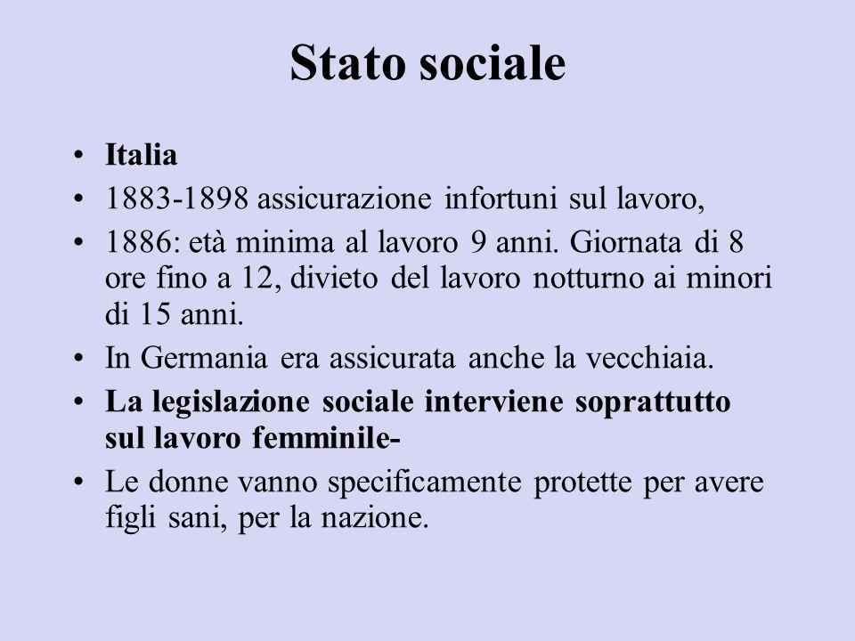 Stato sociale Italia 1883-1898 assicurazione infortuni sul lavoro, 1886: età minima al lavoro 9 anni. Giornata di 8 ore fino a 12, divieto del lavoro
