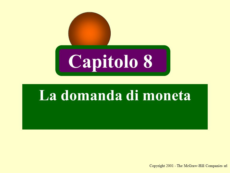 Copyright 2001 - The McGraw-Hill Companies srl La domanda di moneta Capitolo 8