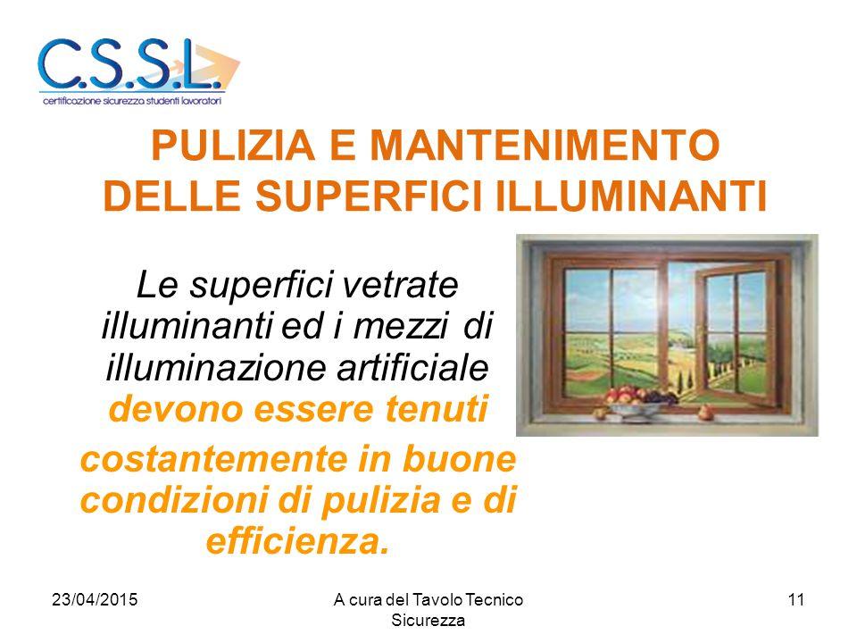 PULIZIA E MANTENIMENTO DELLE SUPERFICI ILLUMINANTI Le superfici vetrate illuminanti ed i mezzi di illuminazione artificiale devono essere tenuti costantemente in buone condizioni di pulizia e di efficienza.