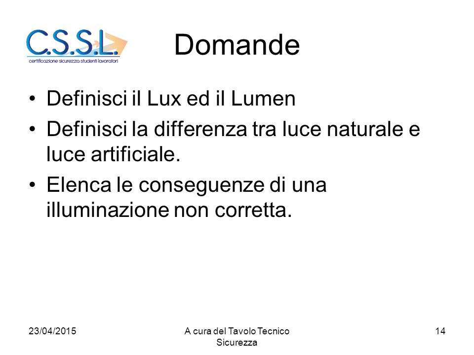 Domande Definisci il Lux ed il Lumen Definisci la differenza tra luce naturale e luce artificiale.