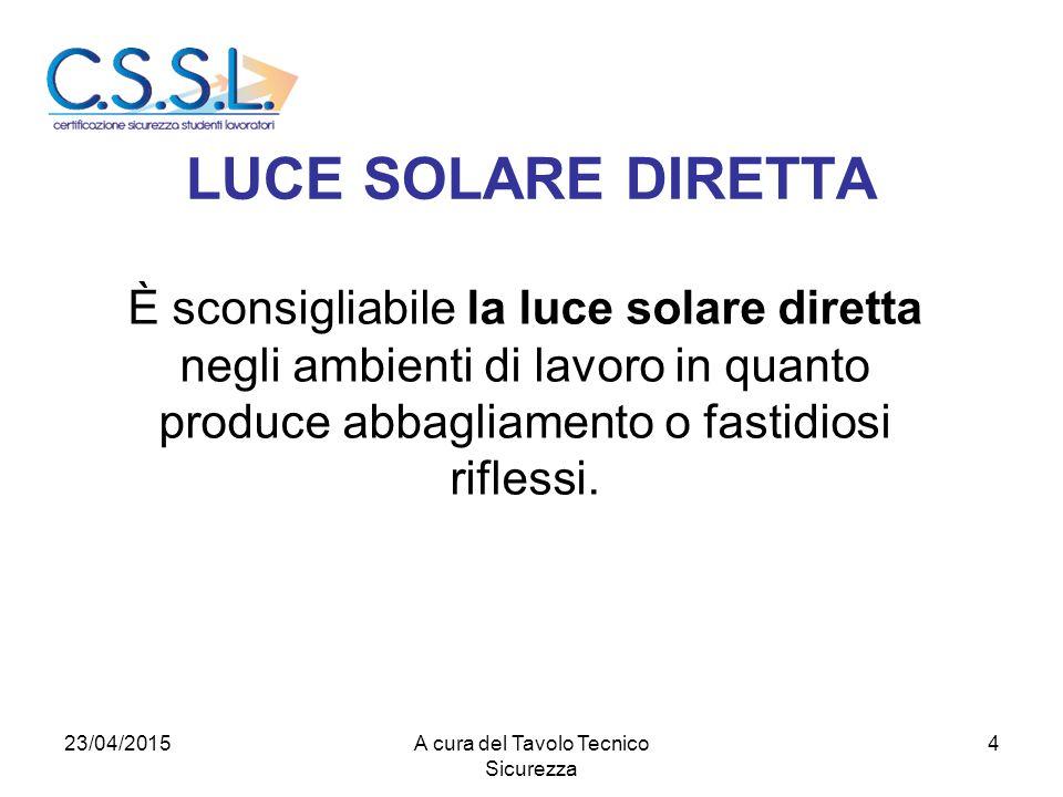 LUCE SOLARE DIRETTA È sconsigliabile la luce solare diretta negli ambienti di lavoro in quanto produce abbagliamento o fastidiosi riflessi.