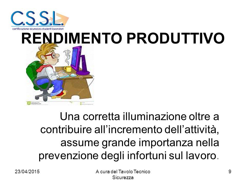 RENDIMENTO PRODUTTIVO Una corretta illuminazione oltre a contribuire all'incremento dell'attività, assume grande importanza nella prevenzione degli infortuni sul lavoro.