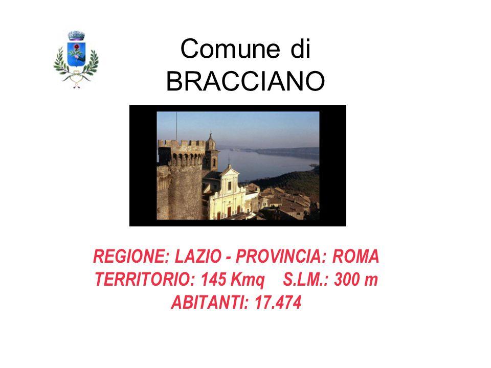 REGIONE: LAZIO - PROVINCIA: ROMA TERRITORIO: 145 Kmq S.LM.: 300 m ABITANTI: 17.474 Comune di BRACCIANO