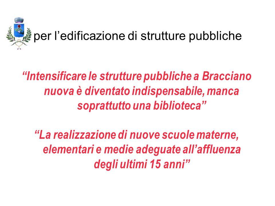 """per l'edificazione di strutture pubbliche """"Intensificare le strutture pubbliche a Bracciano nuova è diventato indispensabile, manca soprattutto una bi"""
