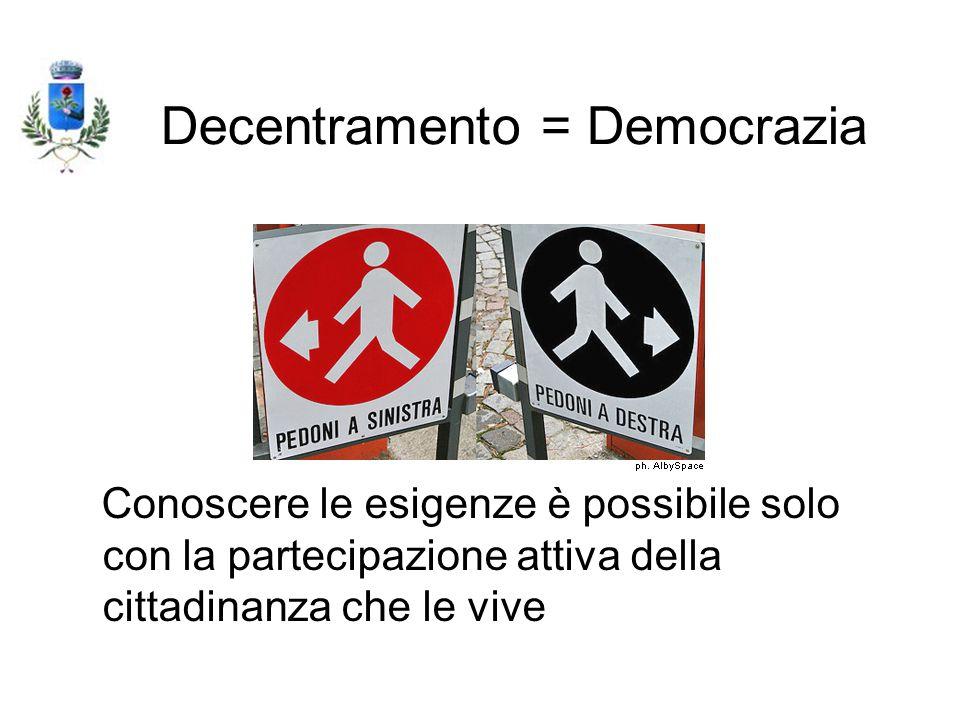 Decentramento = Democrazia Conoscere le esigenze è possibile solo con la partecipazione attiva della cittadinanza che le vive