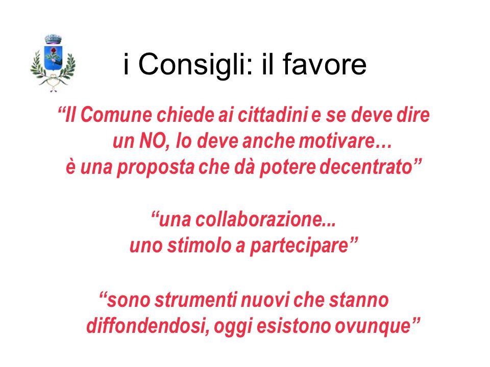 i Consigli: il favore Il Comune chiede ai cittadini e se deve dire un NO, lo deve anche motivare… è una proposta che dà potere decentrato una collaborazione...