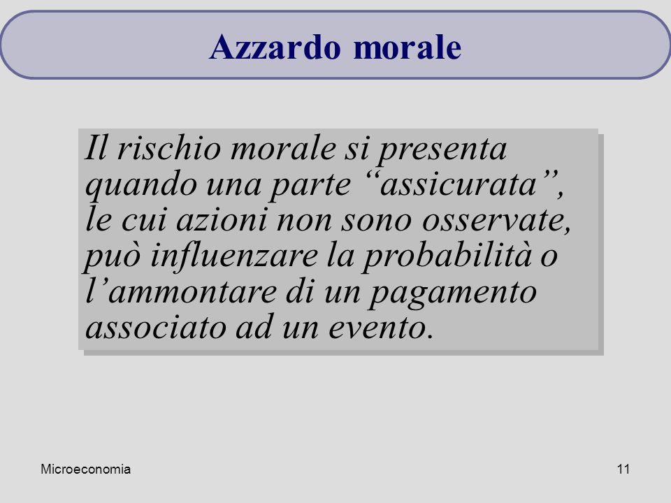 """Microeconomia11 Azzardo morale Il rischio morale si presenta quando una parte """"assicurata"""", le cui azioni non sono osservate, può influenzare la proba"""