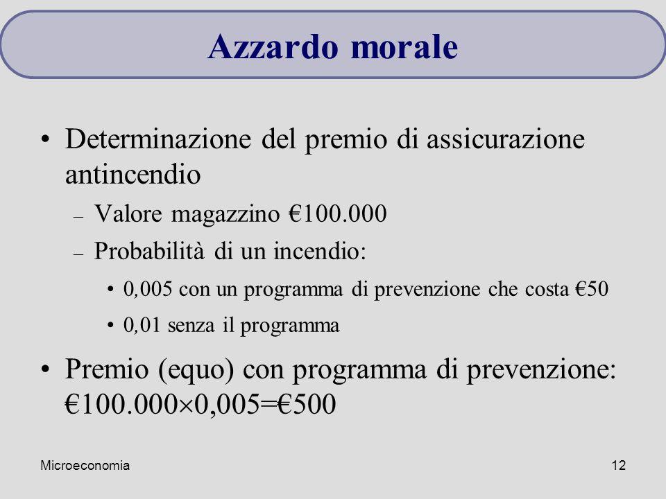Microeconomia12 Determinazione del premio di assicurazione antincendio – Valore magazzino €100.000 – Probabilità di un incendio: 0,005 con un programm