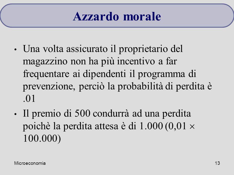 Microeconomia13 Una volta assicurato il proprietario del magazzino non ha più incentivo a far frequentare ai dipendenti il programma di prevenzione, p