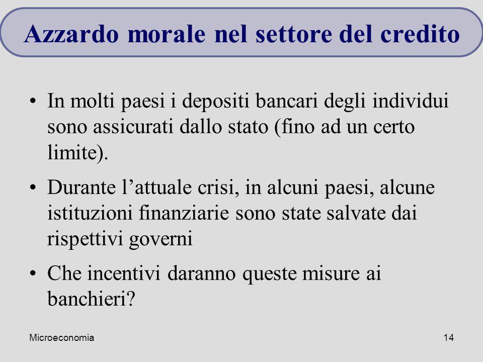 Microeconomia14 In molti paesi i depositi bancari degli individui sono assicurati dallo stato (fino ad un certo limite). Durante l'attuale crisi, in a
