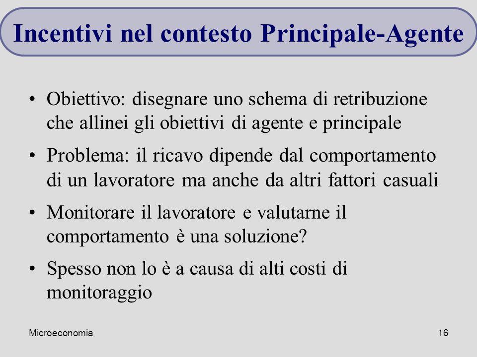 Microeconomia16 Obiettivo: disegnare uno schema di retribuzione che allinei gli obiettivi di agente e principale Problema: il ricavo dipende dal compo