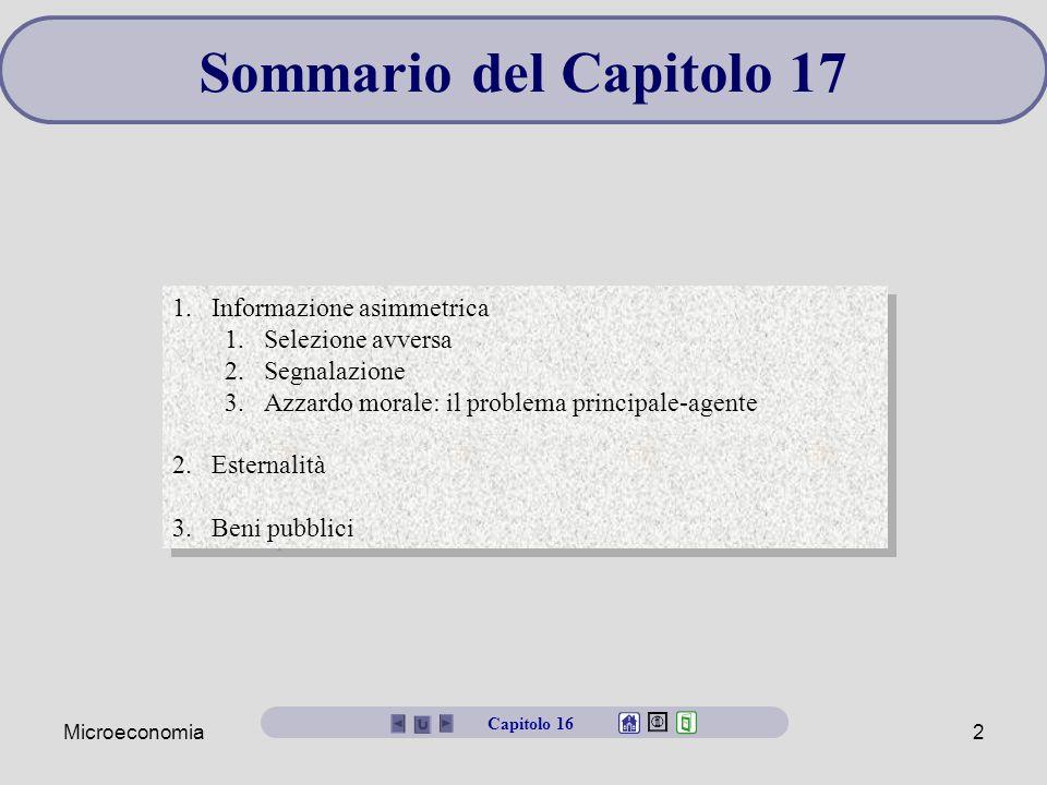 Microeconomia2 Sommario del Capitolo 17 1.Informazione asimmetrica 1.Selezione avversa 2.Segnalazione 3.Azzardo morale: il problema principale-agente
