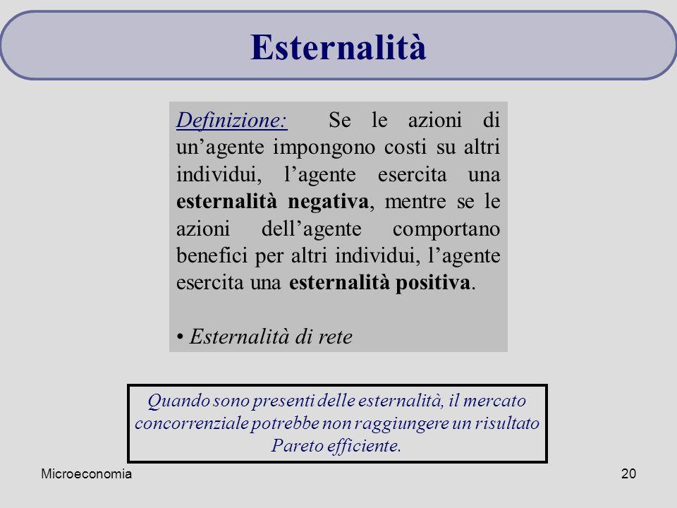 Microeconomia20 Esternalità Definizione: Se le azioni di un'agente impongono costi su altri individui, l'agente esercita una esternalità negativa, men