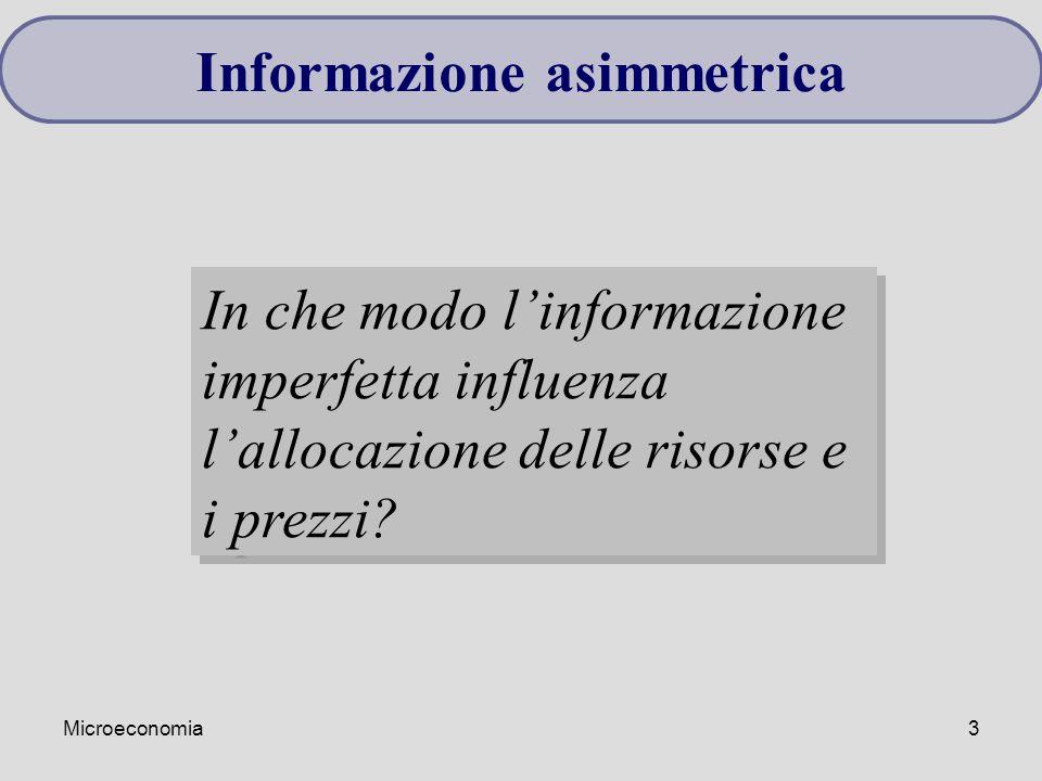 Microeconomia3 Informazione asimmetrica In che modo l'informazione imperfetta influenza l'allocazione delle risorse e i prezzi?