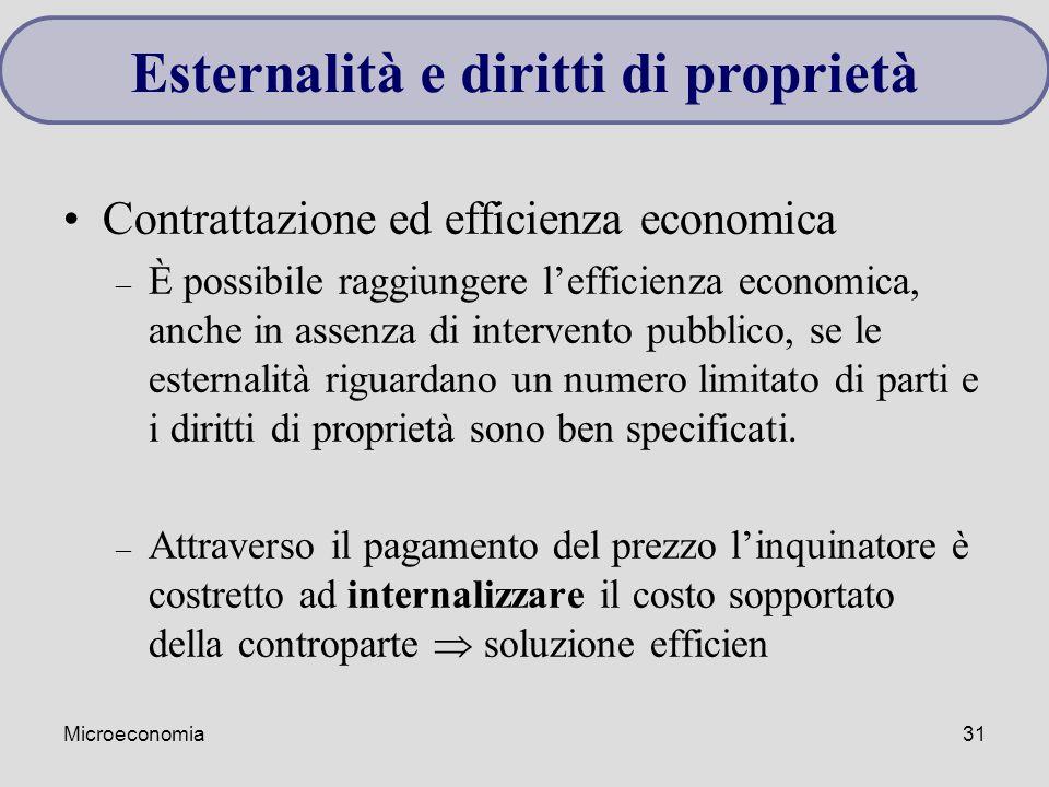 Microeconomia31 Contrattazione ed efficienza economica – È possibile raggiungere l'efficienza economica, anche in assenza di intervento pubblico, se l