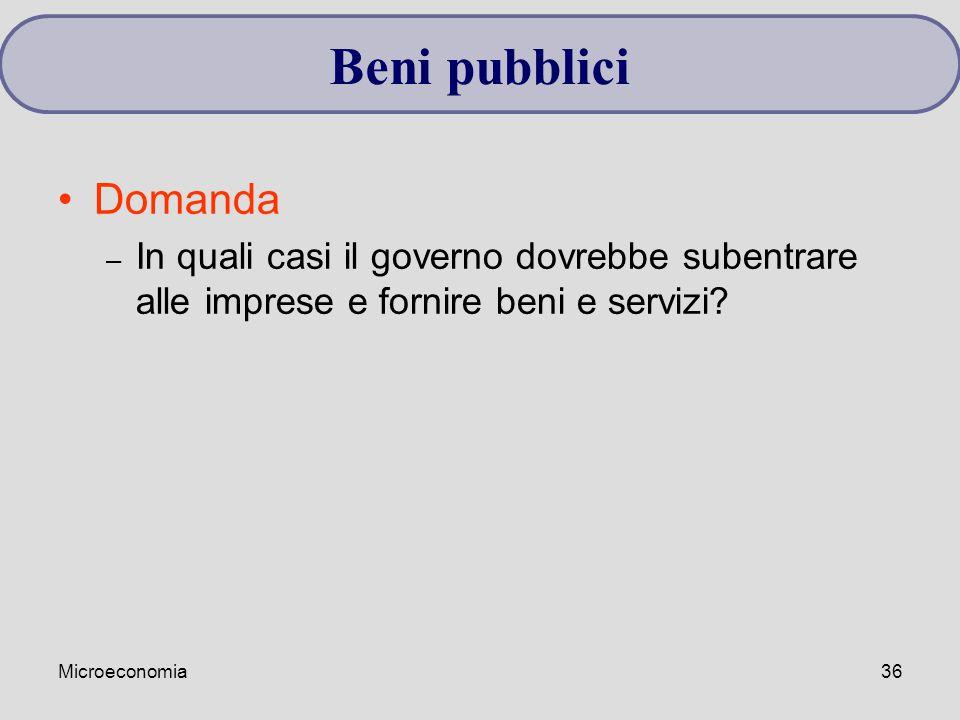Microeconomia36 Domanda – In quali casi il governo dovrebbe subentrare alle imprese e fornire beni e servizi? Beni pubblici