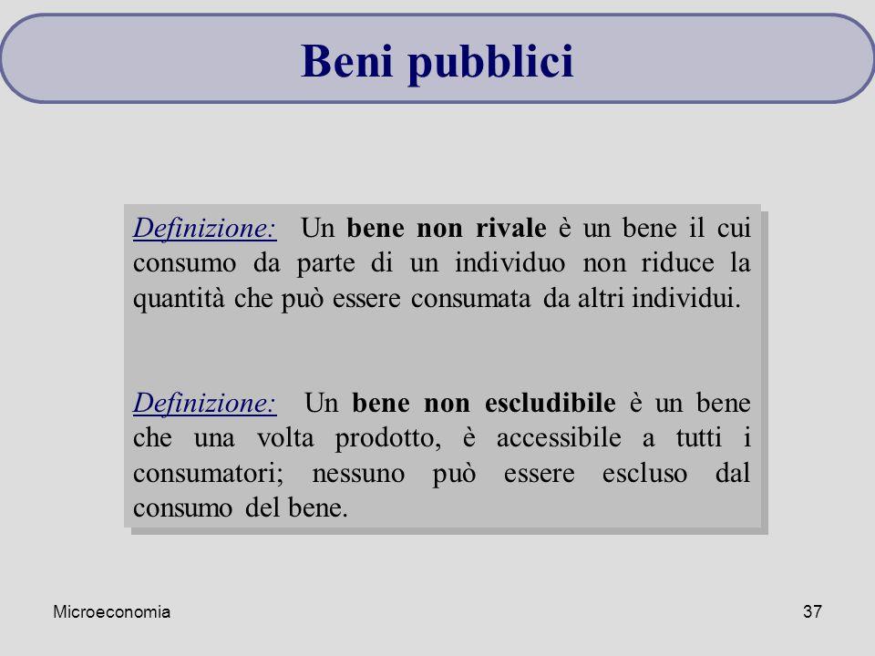 Microeconomia37 Beni pubblici Definizione: Un bene non rivale è un bene il cui consumo da parte di un individuo non riduce la quantità che può essere