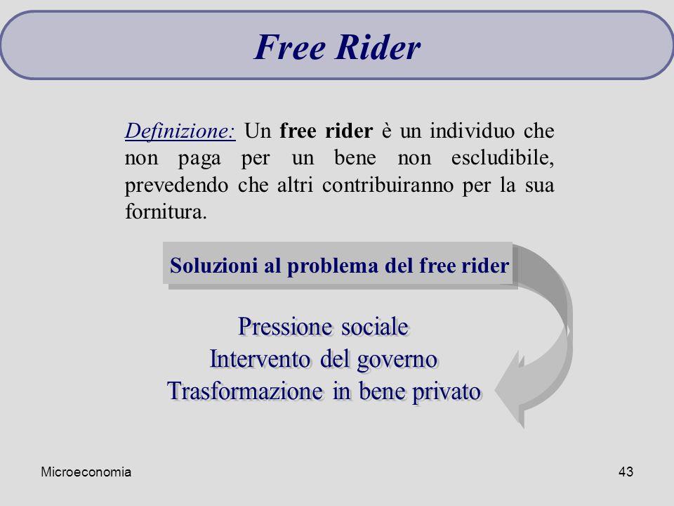 Microeconomia43 Definizione: Un free rider è un individuo che non paga per un bene non escludibile, prevedendo che altri contribuiranno per la sua for