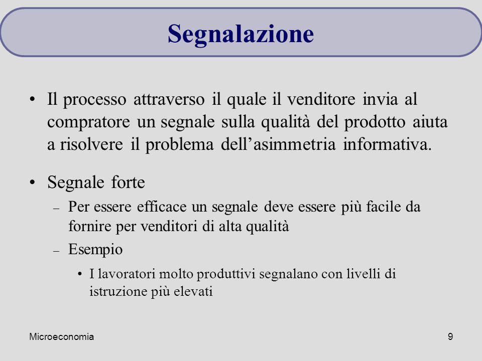 Microeconomia9 Il processo attraverso il quale il venditore invia al compratore un segnale sulla qualità del prodotto aiuta a risolvere il problema de