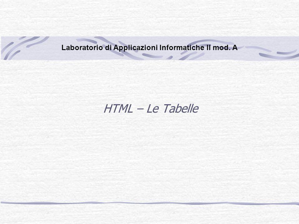 HTML – Le Tabelle Laboratorio di Applicazioni Informatiche II mod. A
