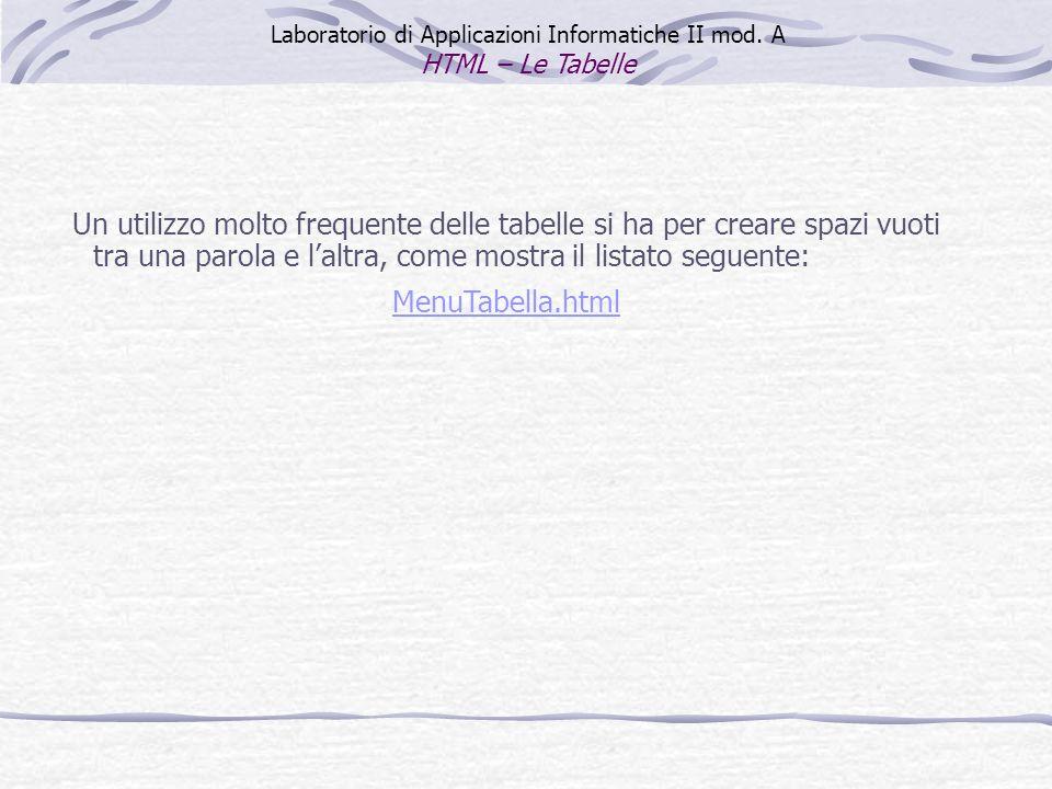 Un utilizzo molto frequente delle tabelle si ha per creare spazi vuoti tra una parola e l'altra, come mostra il listato seguente: MenuTabella.html Laboratorio di Applicazioni Informatiche II mod.