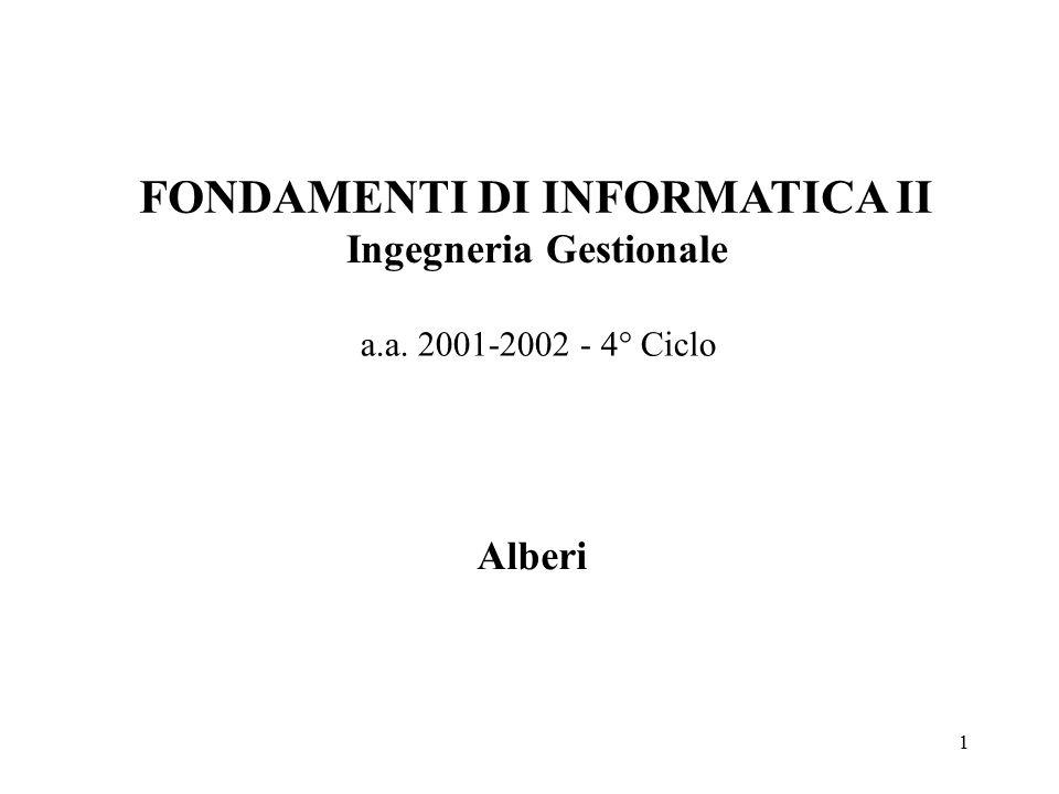 1 FONDAMENTI DI INFORMATICA II Ingegneria Gestionale a.a. 2001-2002 - 4° Ciclo Alberi