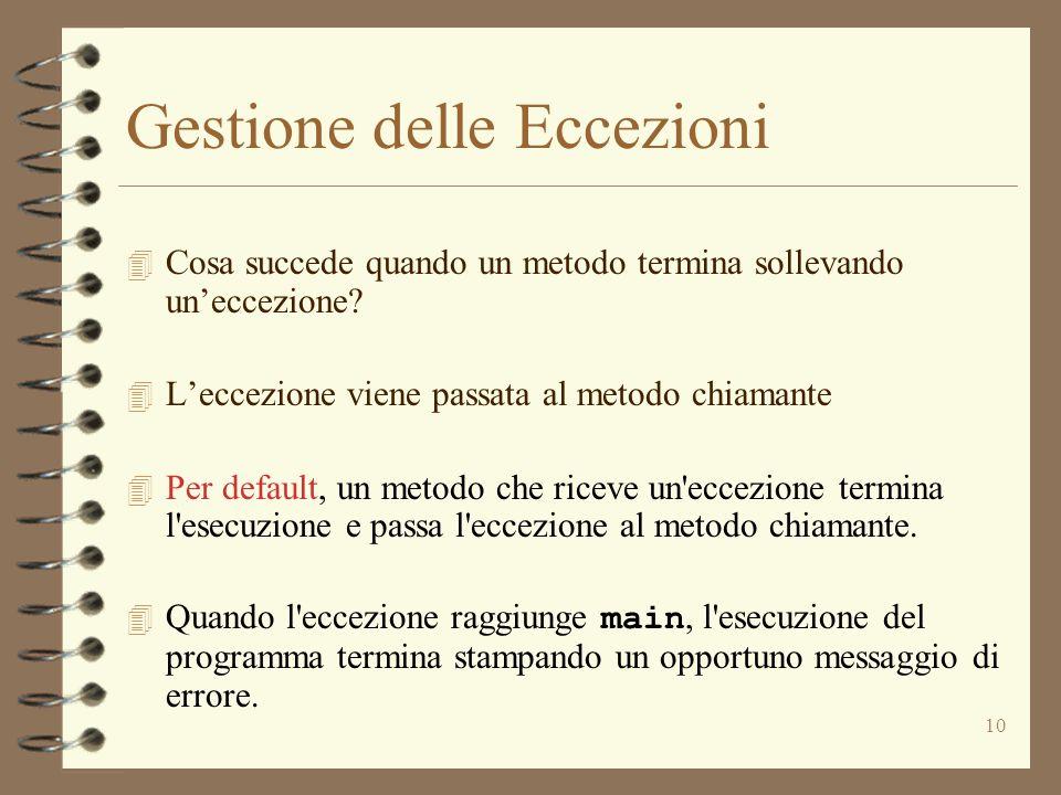 10 Gestione delle Eccezioni 4 Cosa succede quando un metodo termina sollevando un'eccezione.