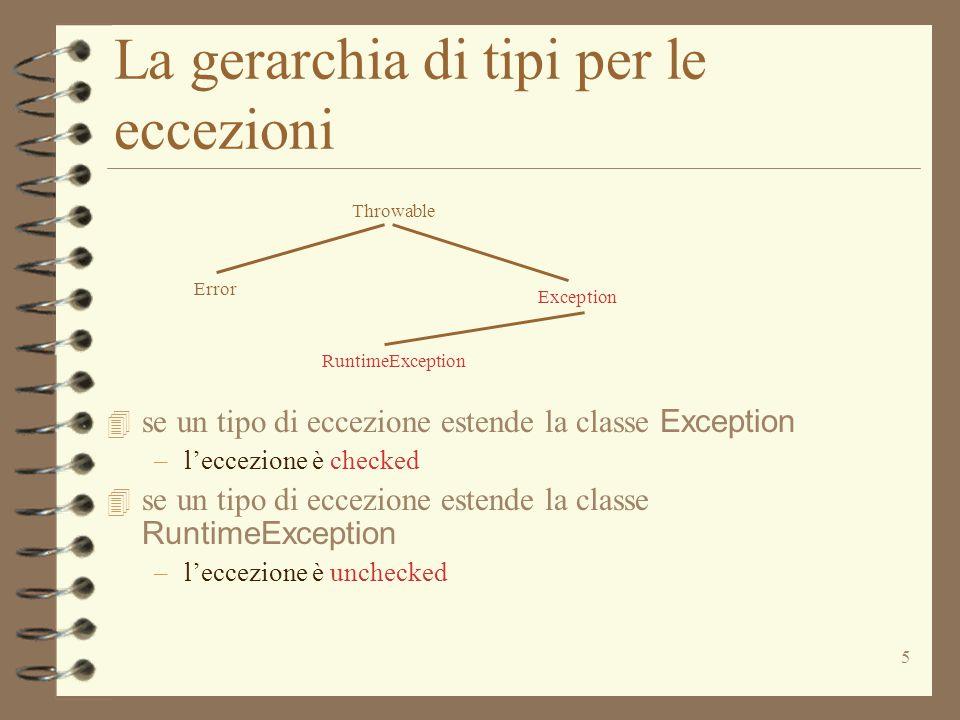 6 Eccezioni Primitive –IndexOutOfBoundsException –NullPointerException E' una eccezione unchecked, indica l'accesso ad un elemento inesistente di un array E' una eccezione unchecked, indica l'accesso ad un oggetto indefinito