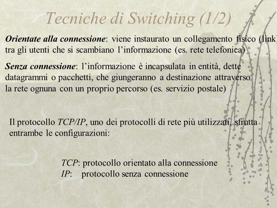 Tecniche di Switching (1/2) Orientate alla connessione: viene instaurato un collegamento fisico (link) tra gli utenti che si scambiano l'informazione