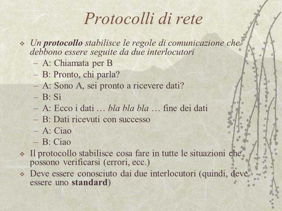 Protocolli di rete  Un protocollo stabilisce le regole di comunicazione che debbono essere seguite da due interlocutori –A: Chiamata per B –B: Pronto