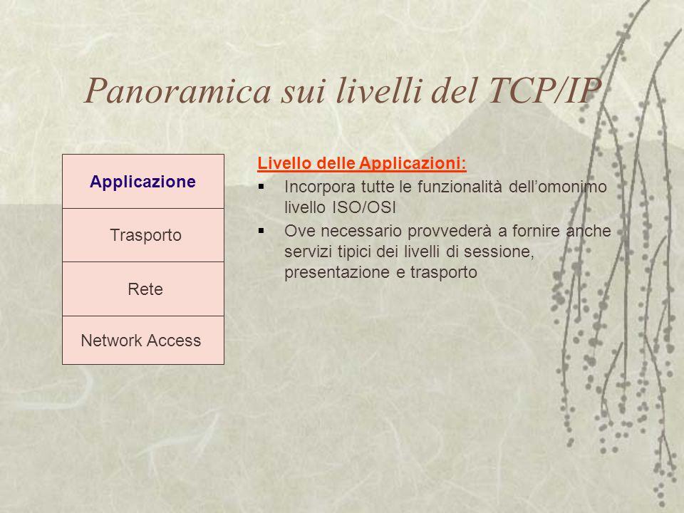 Panoramica sui livelli del TCP/IP Trasporto Rete Network Access Applicazione Livello delle Applicazioni:  Incorpora tutte le funzionalità dell'omonim