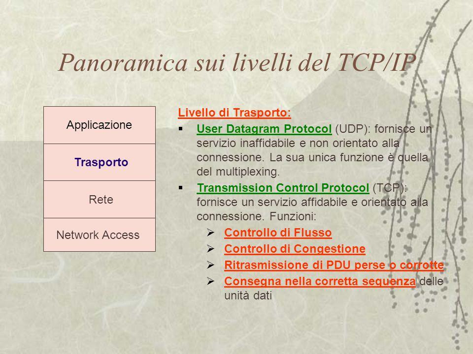 Panoramica sui livelli del TCP/IP Trasporto Rete Network Access Applicazione Livello di Trasporto:  User Datagram Protocol (UDP): fornisce un servizi