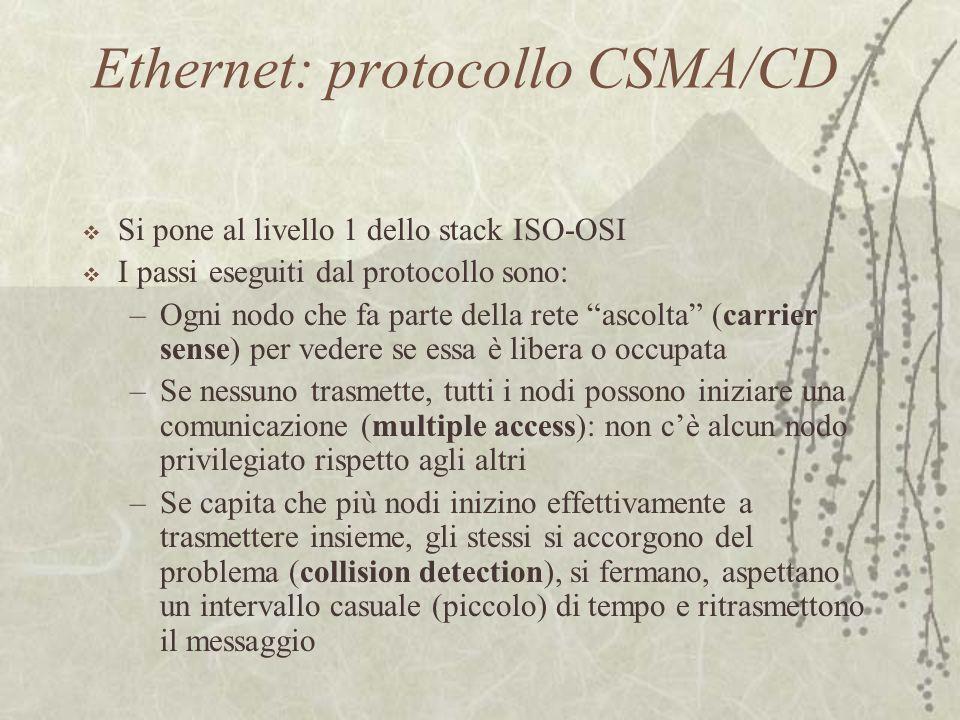 """Ethernet: protocollo CSMA/CD  Si pone al livello 1 dello stack ISO-OSI  I passi eseguiti dal protocollo sono: –Ogni nodo che fa parte della rete """"as"""