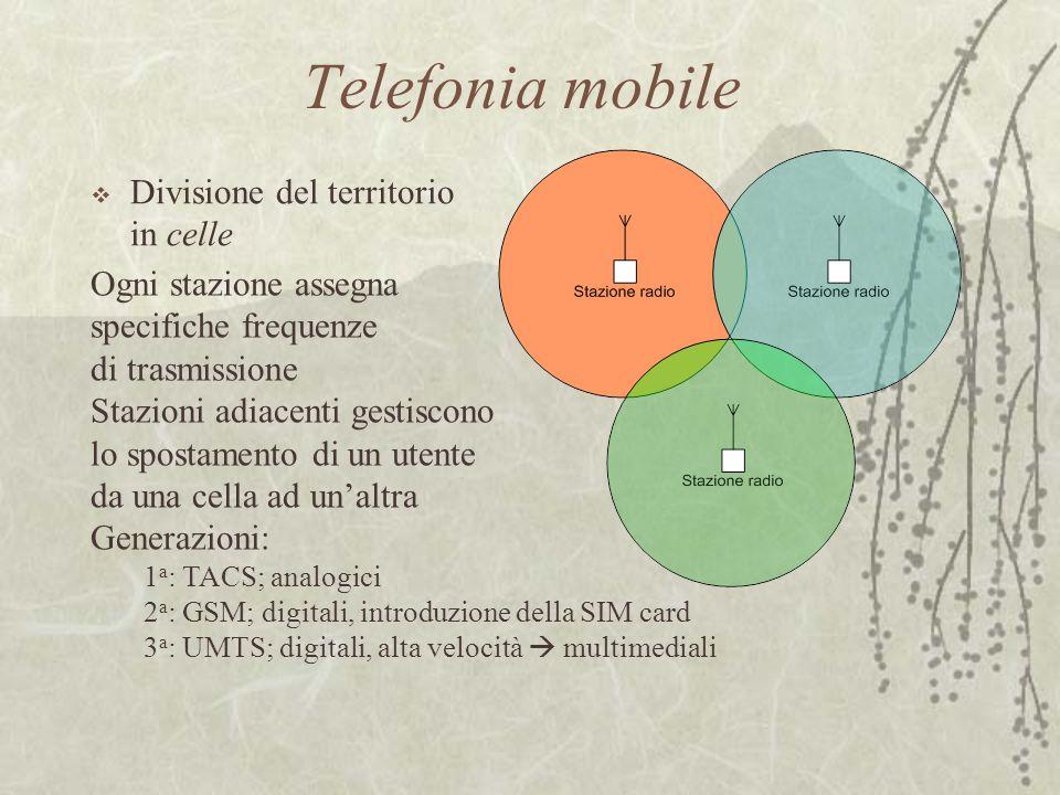 Telefonia mobile  Divisione del territorio in celle Ogni stazione assegna specifiche frequenze di trasmissione Stazioni adiacenti gestiscono lo spost