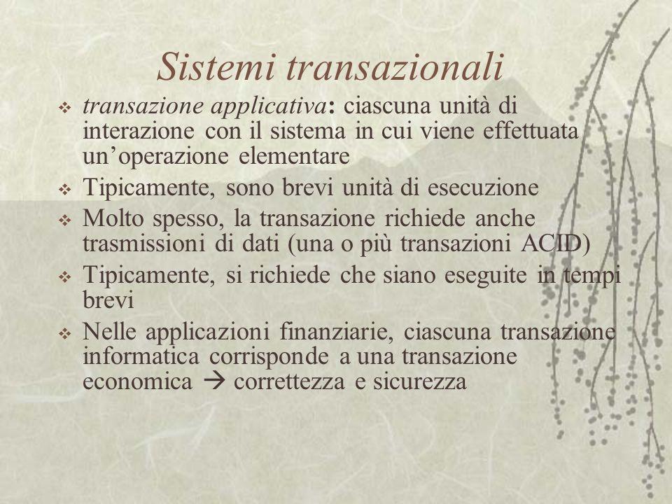 Sistemi transazionali  transazione applicativa: ciascuna unità di interazione con il sistema in cui viene effettuata un'operazione elementare  Tipic