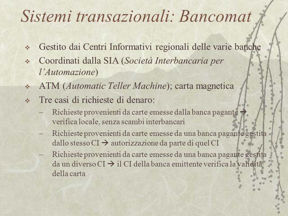 Sistemi transazionali: Bancomat  Gestito dai Centri Informativi regionali delle varie banche  Coordinati dalla SIA (Società Interbancaria per l'Auto