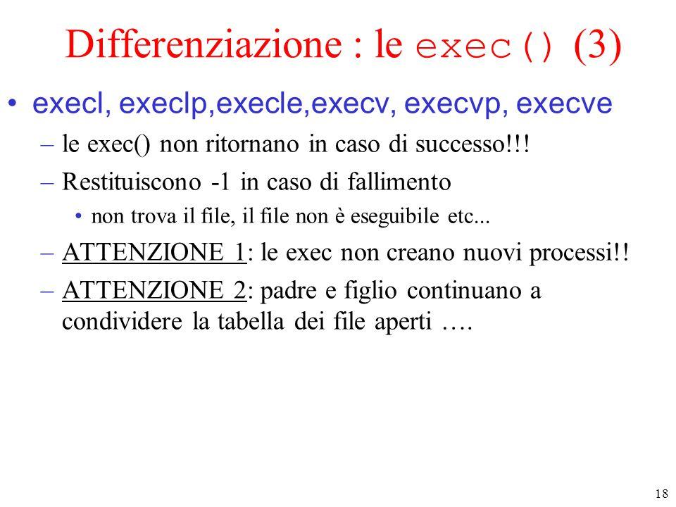 18 Differenziazione : le exec() (3) execl, execlp,execle,execv, execvp, execve –le exec() non ritornano in caso di successo!!.