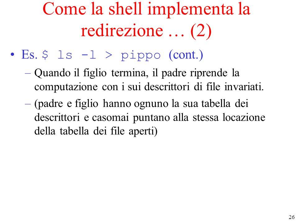 26 Come la shell implementa la redirezione … (2) Es.