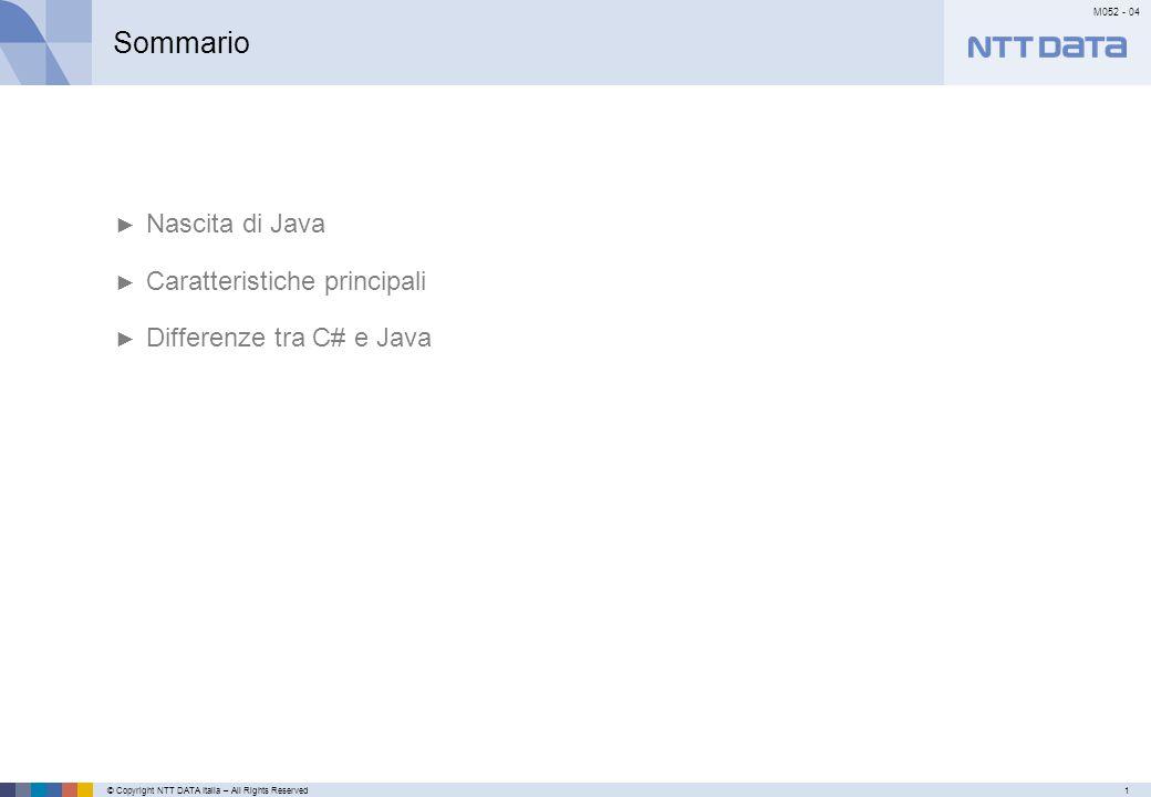 © Copyright NTT DATA Italia – All Rights Reserved12 M052 - 04 Primo meseSecondo mese…………… javac.exe e java.exe Semplificando, un programma Java è un file di testo contenente del codice Java: class HelloWorld { public static main(String[] args) { System.out.println( Hello World !! ); } Il file così creato ha estensione.java e deve essere passato al compilatore: C:\>javac HelloWorld.java questo software crea un file.class con lo stesso nome dell'originario: HelloWorld.class il file.class contiene il bytecode per la JVM.