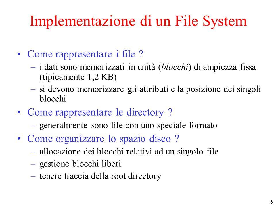 6 Implementazione di un File System Come rappresentare i file ? –i dati sono memorizzati in unità (blocchi) di ampiezza fissa (tipicamente 1,2 KB) –si