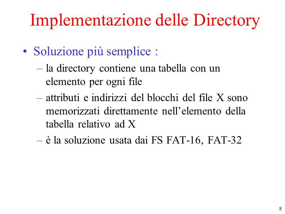 8 Implementazione delle Directory Soluzione più semplice : –la directory contiene una tabella con un elemento per ogni file –attributi e indirizzi del blocchi del file X sono memorizzati direttamente nell'elemento della tabella relativo ad X –è la soluzione usata dai FS FAT-16, FAT-32